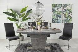 Urban Deco Rimini Ceramic Effect Grey Glass 160-200cm Dining Table and 6 Malibu Black Chairs
