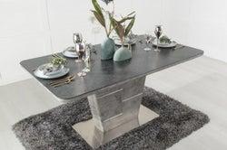 Urban Deco Rimini Ceramic Effect Black Glass 160cm-200cm Extending Dining Table