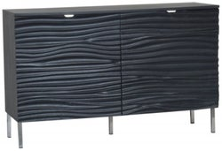 Ripple Wave Black Small Sideboard - 2 Door