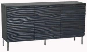 Ripple Wave Black Large Sideboard - 3 Door