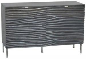 Ripple Wave Charcoal Grey Small Sideboard - 2 Door