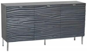 Ripple Wave Charcoal Grey Large Sideboard - 3 Door