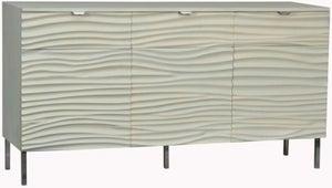 Ripple Wave Bone White Large Sideboard - 3 Door
