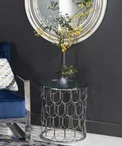 Riviera Round Glass Side Table - Stainless Steel Chrome Base