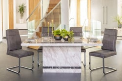 Urban Deco Rome 160cm Cream Marble Dining Table with 6 Donatella Grey Chairs