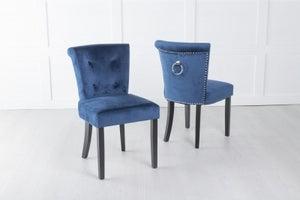 Sandringham Small Dining Chair with Knocker / Black Legs - Blue Velvet