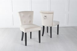 Sandringham Small Dining Chair with Knocker / Black Legs - Champagne Velvet
