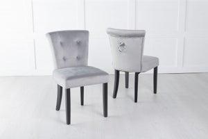 Sandringham Small Dining Chair with Knocker / Black Legs - Light Grey Velvet