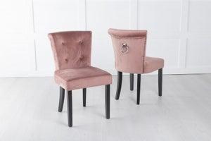 Sandringham Small Dining Chair with Knocker / Black Legs - Pink Velvet