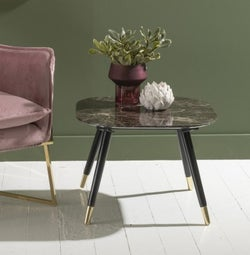 Scandi Brown Emperador Marble Side Table With Black legs