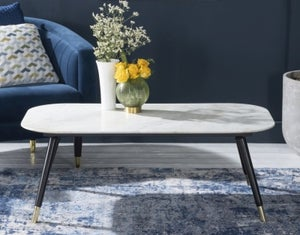 Scandi White Marble Coffee Table With Black legs