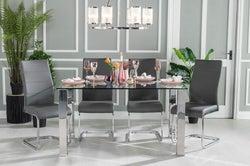 Urban Deco Sophia 90cm Glass and Chrome Dining Table