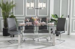 Urban Deco Sophia 180cm Glass and Chrome Dining Table and 6 Malibu Grey Chairs
