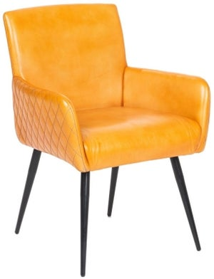 Stanton Genuine Leather Carver Dining Chair - Ochre