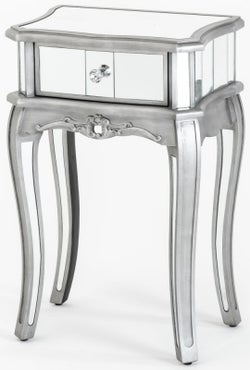 Tiffany French Mirrored 1 Drawer Side Table