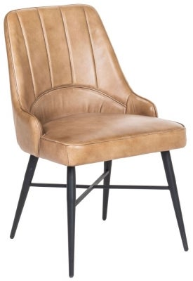 Toronto Genuine Leather Dining Chair - Camel Brown