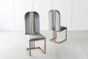 Troy Bronze Frame Grey Velvet Dining Chair