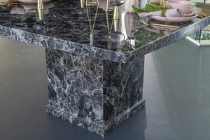 Urban Deco Turin 140cm Black Marble Dining Table
