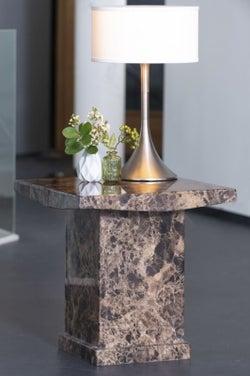 Urban Deco Turin Brown Marble Lamp Table