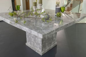 Urban Deco Turin 140cm Grey Marble Dining Table