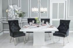 Urban Deco Turin 140cm White Marble Dining Table and 6 Black Knockerback Chrome Leg Chairs