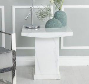 Urban Deco Turin White Marble Square Lamp Table