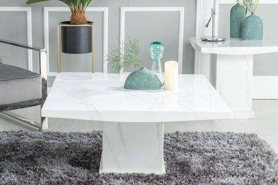 Urban Deco Turin White Marble Coffee Table