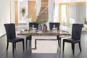 Urban Deco Venice 160cm Cream Marble Dining Table and 6 Cadiz Black Chairs
