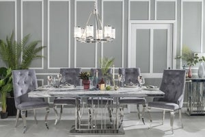 Urban Deco Vortex 220cm Grey Marble and Chrome Dining Table and 8 Premiere Grey Knockerback Chairs