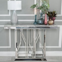Urban Deco Vortex Grey Marble and Chrome Console Table