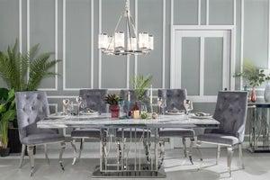 Urban Deco Vortex 220cm Grey Marble and Chrome Dining Table