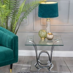 Urban Deco Wave Glass and Chrome Side Table