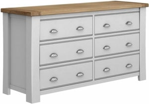 Vida Living Amberly Grey Painted 6 Drawer Dressing Chest