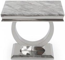 Vida Living Arianna Grey Marble Lamp Table