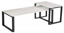 Vida Living Circe White Marble Effect Coffee Table Set
