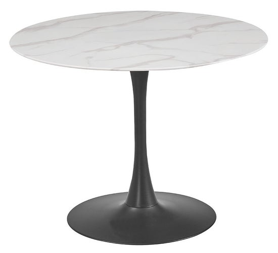 Vida Living Circe 100cm White Marble Effect Round Dining Table