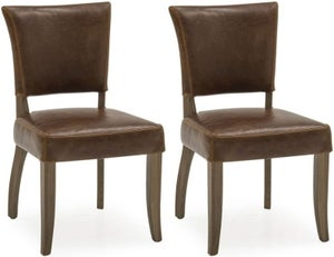 Vida Living Duke Tan Brown Leather Dining Chair (Pair)