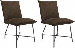 Vida Living Lukas Brown Fabric Dining Chair (Pair)