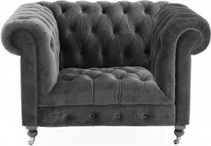 Vida Living Darby Grey Velvet 1 Seater Sofa
