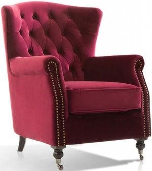 Vida Living Darby Berry Velvet Wingback Chair
