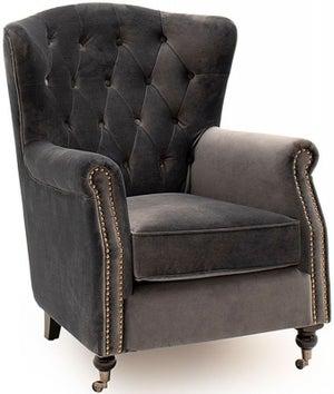 Vida Living Darby Grey Velvet Wingback Chair