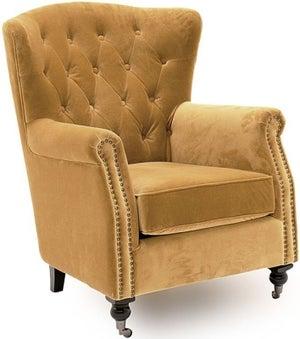 Vida Living Darby Mustard Velvet Wingback Chair