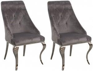 Vida Living Cassia Grey Velvet Dining Chair (Pair)