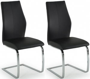 Vida Living Elis Black Faux Leather and Chrome Dining Chair (Pair)