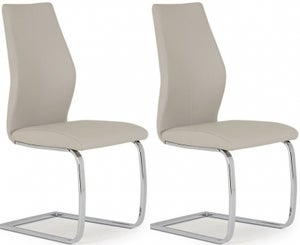Vida Living Elis Taupe Faux Leather and Chrome Dining Chair (Pair)