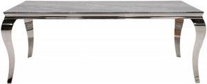 Vida Living Fabien 160cm Grey Marbled Glass Dining Table
