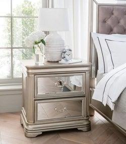 Vida Living Jessica Champagne Mirrored Bedside Cabinet