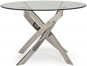 Vida Living Kalmar 110cm Glass and Chrome Round Dining Table