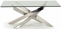Vida Living Kalmar Glass and Chrome Coffee Table