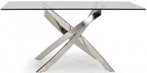 Vida Living Kalmar 160cm Glass and Chrome Dining Table